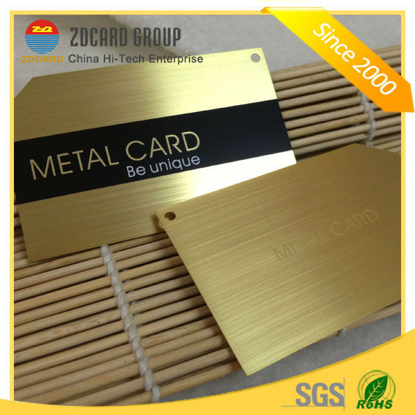 Promotion! Embossed business metal card/gold plated metal cards