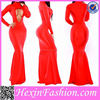 red mermaid sexy long sleeve evening dress