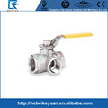 "1/2"" Stainless Steel 316 3-Way Ball Valve - L Port With Mounting Pad, 1000PSI"