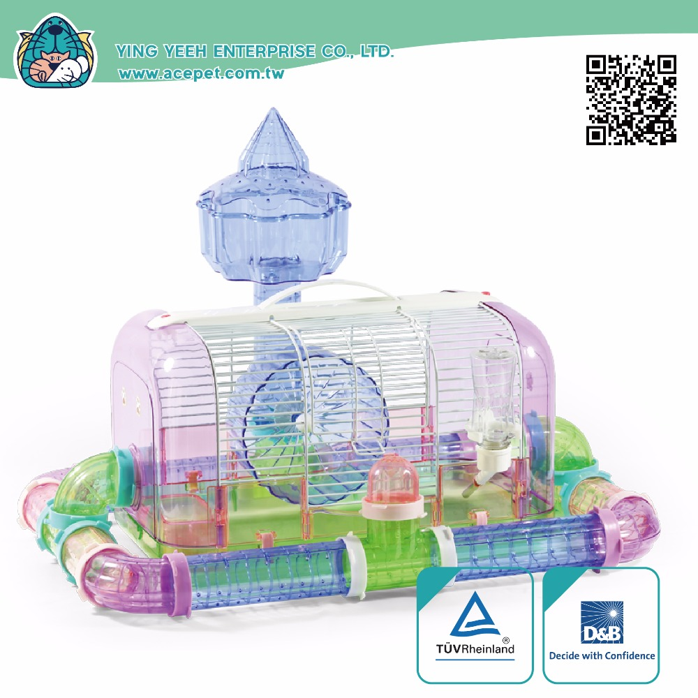 new premium curve modeling plastic with iron Wire hamster cage Equipped with Castle Cabin Viewing platform,moat tube