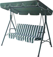three seats green and white promotional garden swing