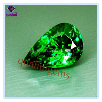 lovely green pear shaped beautiful cubic zirconia stone