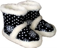 100% wool slippers, textile black