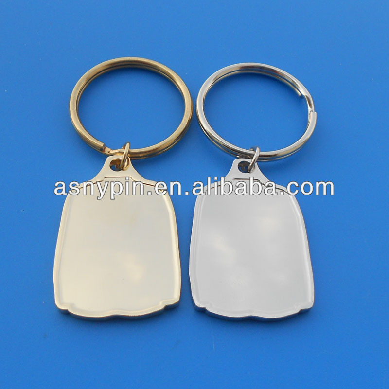 metal gold & silver T-shirt key trinket for sublimation, metal sport blank key holder, metal ice hockey blank keychain