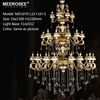MEEROSEE Modern K9 Clear Crystal Chandelier Antique Brass Hanging Lighting For Hotel Loft/Hall Project MD1070-L30