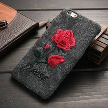 2016 New Style High Quality Embroidery Rose Phone Case for Iphone6, Back Cover for iPhone 6 /6s