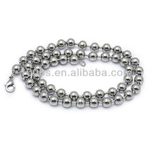 fashion jewelry rhodium plating bead stainless steel chain necklace