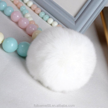 10 cm Fluffy Fake fox fur pom poms/fur balls with phone rope KC-126c
