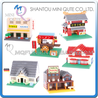 Mini Qute QCF 6 styles World architecture Beer House Building plastic building block scale model educational toy