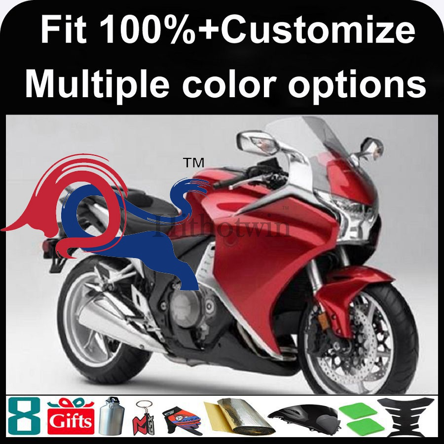 Injection mold red motorcycle cowl for HONDA VFR1200 2010-2013 10 11 12 12 13 2010 2011 2012 2013 VFR 1200 ABS Fairing