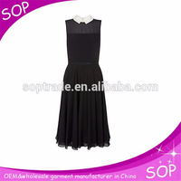 Fashion doll collar black chiffon beautiful lady one-piece dress