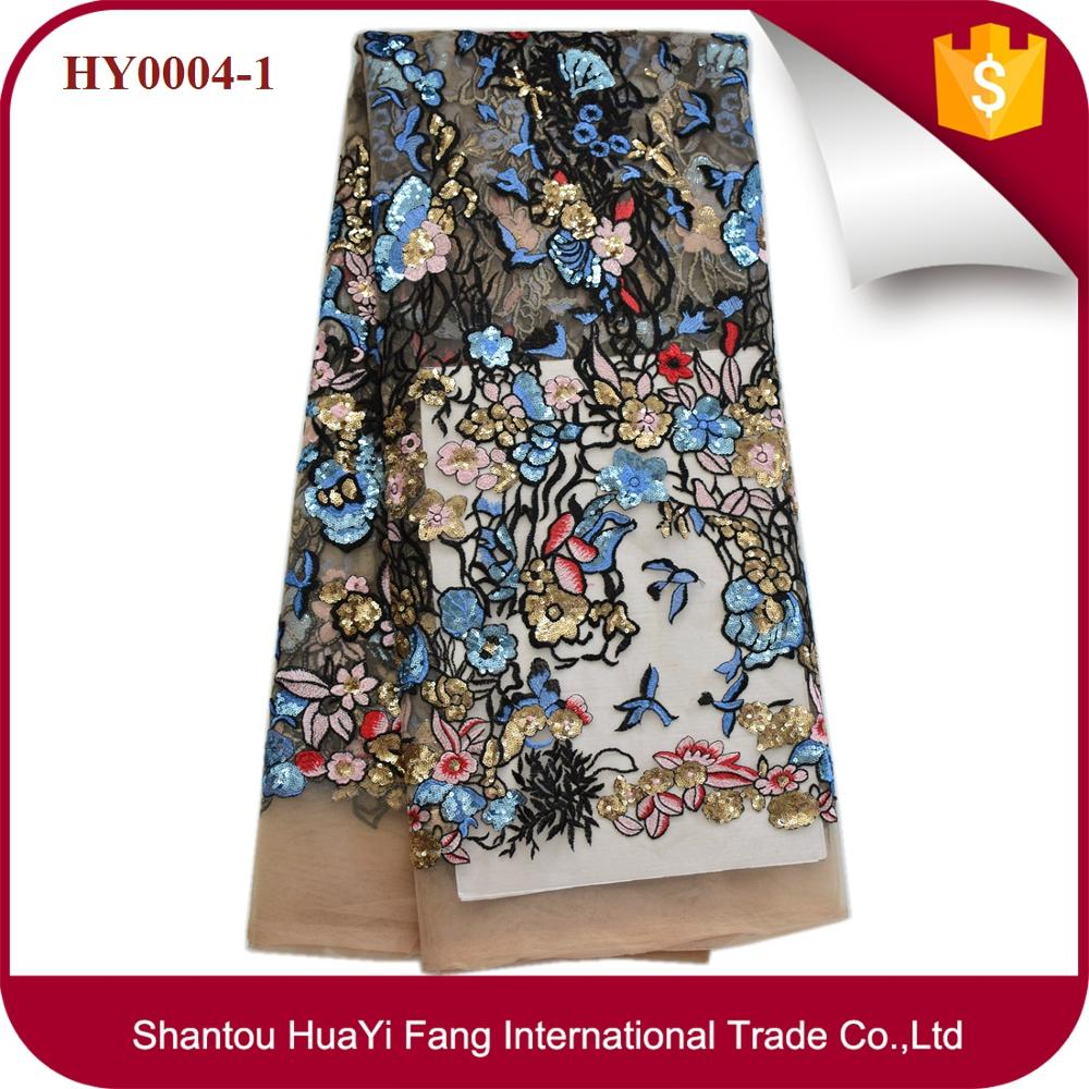 New design african tulle lace fabric nice floral embroidery with full sequins mesh lace for fashion show HY0004