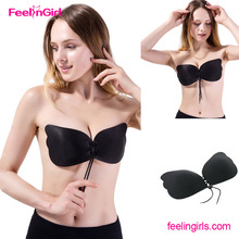 2017 Latest Strapless Gather Adult Sexy Black Silicone Invisible Bra