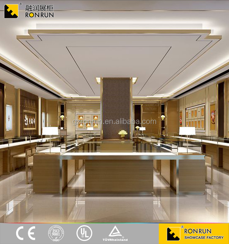 Newest style! High-end glass display showcase jewellery shop counter design images