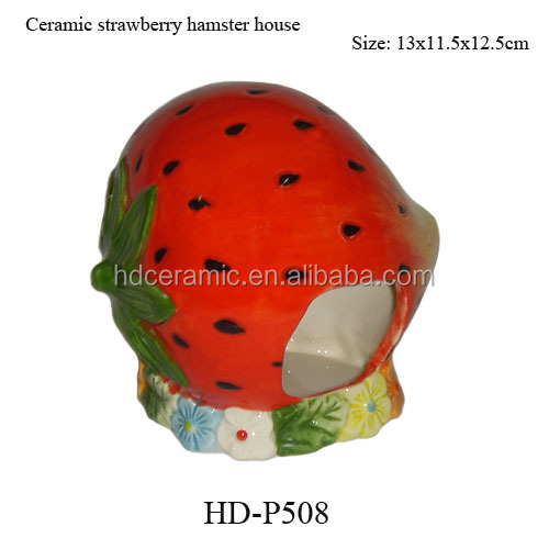 Strawberry red easy clean ceramic hamster cage, ceramic small animal house,ceramic pet cage