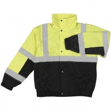 Green Safety Jacket with reflector Fleece Liner in Hi-Viz reflective Lime and Black