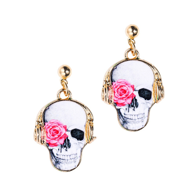 Free Jewelry Samples Free Shipping Fancy Skull Earring Yiwu High Quality Factory