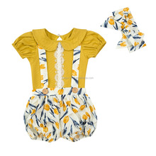 Wholesale new arrival cute Bib pants set for baby girls