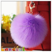 14cm hot sell rabbit fur pompom Keyring Fur Pom Pom Keychain