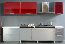 Top quality China made simple design white acrylic kitchen cabinet with red glass door