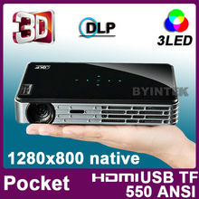 New DMD LED LCD Video DLP Active Shutter 3D Micro HDMI USB Pocket Mini Projector