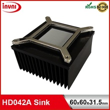 High Power Skiven Fin Aluminum Heatsink (Black color) for Atom Mobile CPU Processors (HD042A)