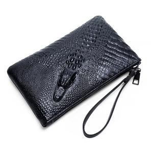 Fashion Business Clutch bag Phone Wallet Alligator Pattern PU Leather Billfold Long Wallet for men