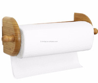 Wall Mount Bamboo Toliet Paper Towel tissue Holder for kitchen and bathroom