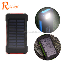 Ranphys high capacity 10000mah waterproof solar power bank with led lights