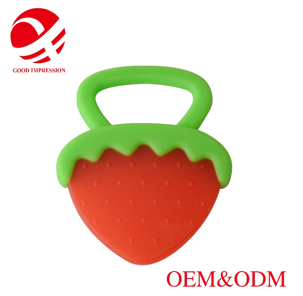 high quaity factory custom BPA free soft fruit shaped silicone baby teether