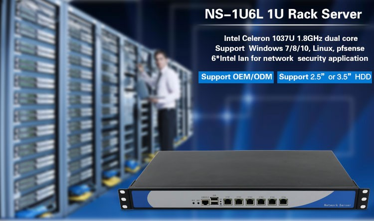 Intel Celeron 1037U Dual Core Firewall Appliance Barebone 1U Server