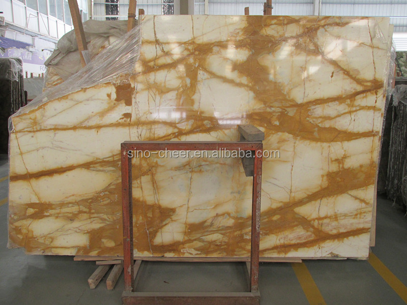 golden yellow China marble marble flooring design Paving Stone