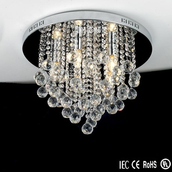 Modern European Art Deco Round Rain Drop Chandelier Lamp Crystal Ceiling Light