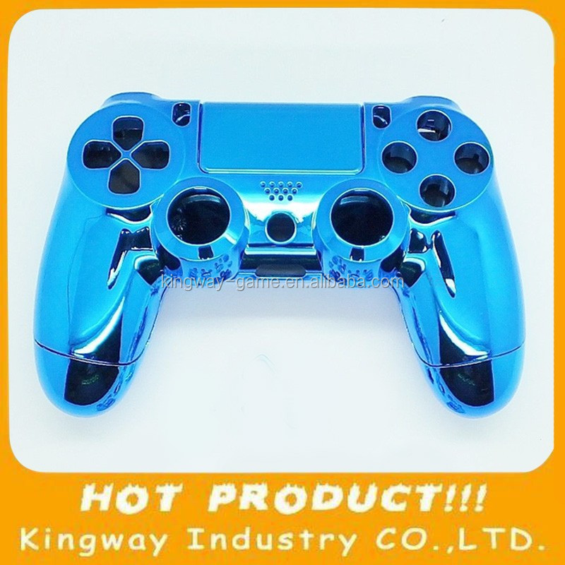 Replacment Chrome Joystick Shell For PS4 wireless Controller Housing Case Blue