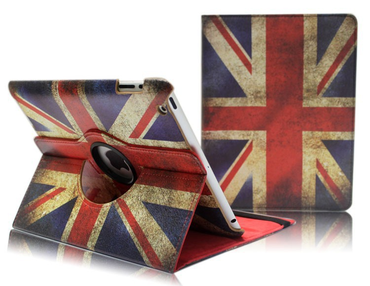 Retro Flag style 360 Degrees Rotating PU Leather Case for ipad 2 3 4 5 air mini 1/2 Retina display