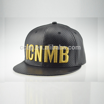 Dongguan Custom Gold 3D Embroidery 6 panel Black Leather Flat Snap Back Cap Hat