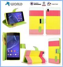 colorful Leather Stand Case for sony xperia z2