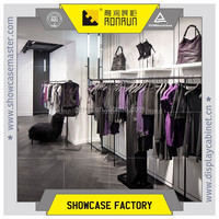 Fashinable clothes store decoration ,stainless steel hanging display rack ,clothes fixture bags display stands