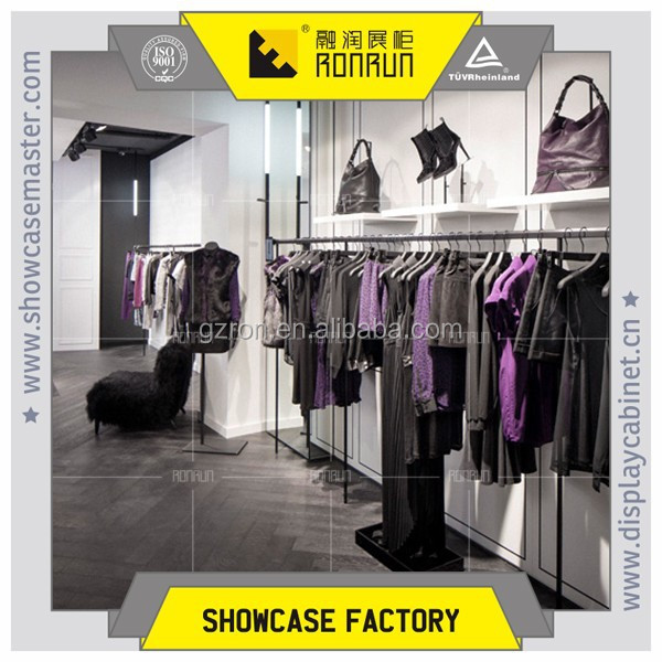 Fashionable clothes store decoration ,stainless steel hanging display rack ,clothes fixture bags display stands