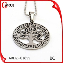 Vacuum plating silver rose gold round shape wholesale fashion jewelry tree of life pendant