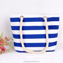 Women Canvas Handbag Big Striped Printing Shoulder Bag Ladies Tote Bag Summer Style Beach Bag