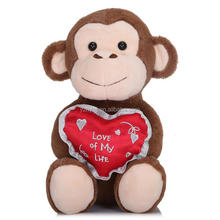 stuffed plush toys monkey with red heart