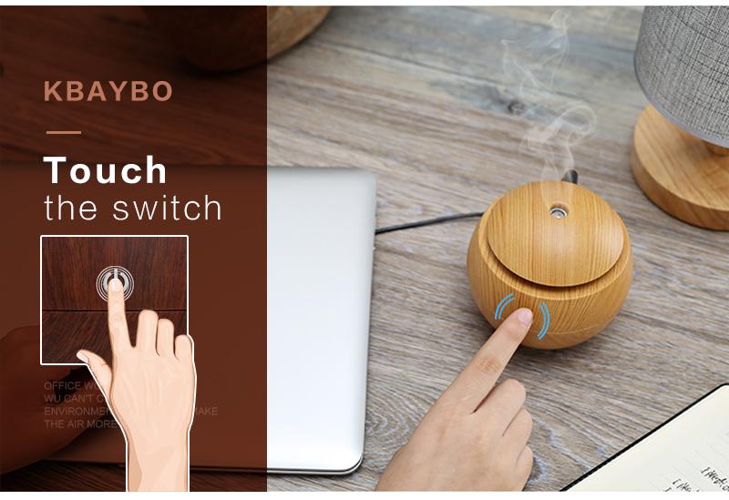 Diffuseur d'huiles essentielles USB KBAYBO bois, aromathérapie, très facile d'utilisation avec un bouton marche arrêt