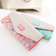 Hot New Fashion Wallet Trend Embroidery PU Leather Purse Flower Embroidered Women Wallet For Phone