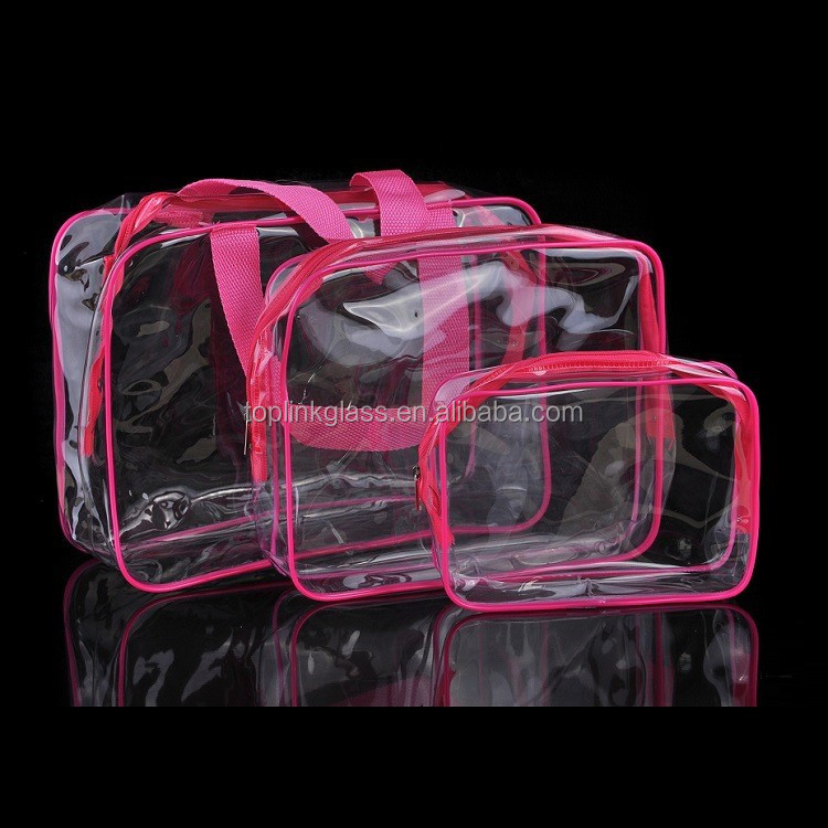 OEM custom reusable clear vinyl pvc zipper bags with handles clear hanging toiletry bag pvc cosmetic bag