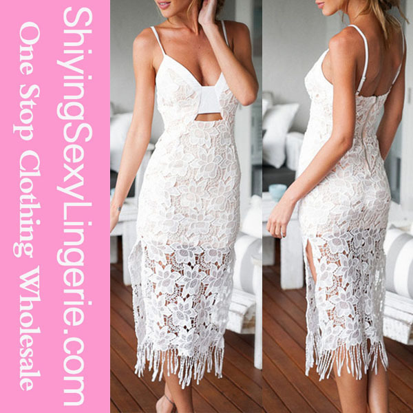 Hot Sale Sexy Lace Moment White Lace Knee Length Dress For Women
