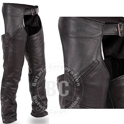 Black Color Leather Chap With Snap-Closure Pocket