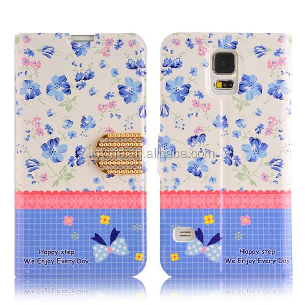 Cath Stylish Ladies Flower Leather Case For Samsung Galaxy S5 I9600 Ultra slim case