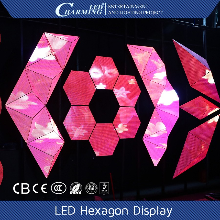 Shapeable design on LED hexagon flat panel display from China