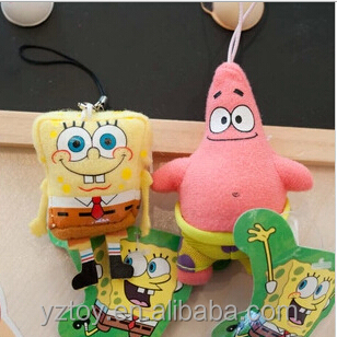 "3.6"" 9CM 1pcs Cartoon Animal Keychain Pendant Doll Toy Stuffed and Plush Toys SpongeBob and Patrick Star"